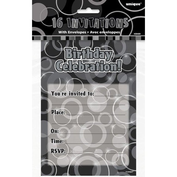 Pack of 16 Black Glitz Birthday Invitations With Envelopes
