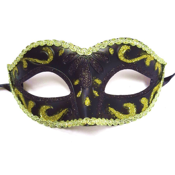 Adults Black Venetian Masquerade Mask With Gold Trim, Fancy Dress Party, Hen Night