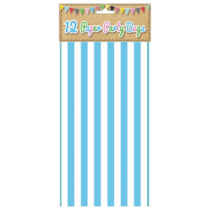 12 Blue Candy Stripe Paper Party Bags