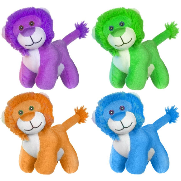 13cm Brightly Colourd Lion Cuddly Plush Toy with choice of 4 colours