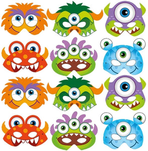12 Ready To Wear Bright Monster Card Party Masks