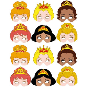 12 Princess Card Party Masks suitable for Children and Adults