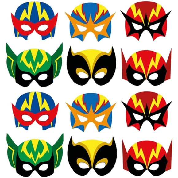 12 Card Super Hero Party Masks suitable for Children and Adults