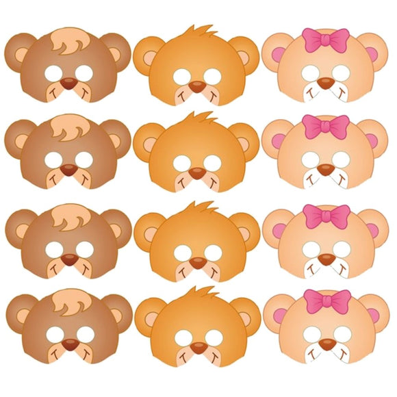 12 Teddy Bear Card Party Masks for Adults and Children, Perfect for a Teddy Bears Picnic