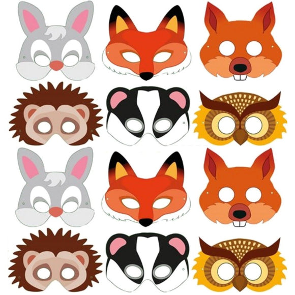Set of 12 Card Woodland Design Party Masks Party Bag Filler Favor