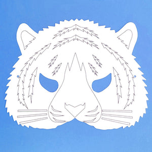 Plain Card Children's Tiger Face Mask to Colour In for Party Bags