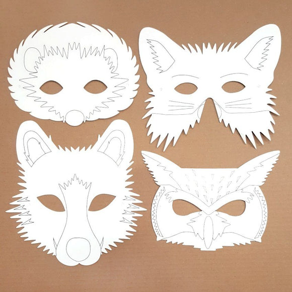 Plain Card Children's Animal Design Face Masks to Colour In for Party Bags