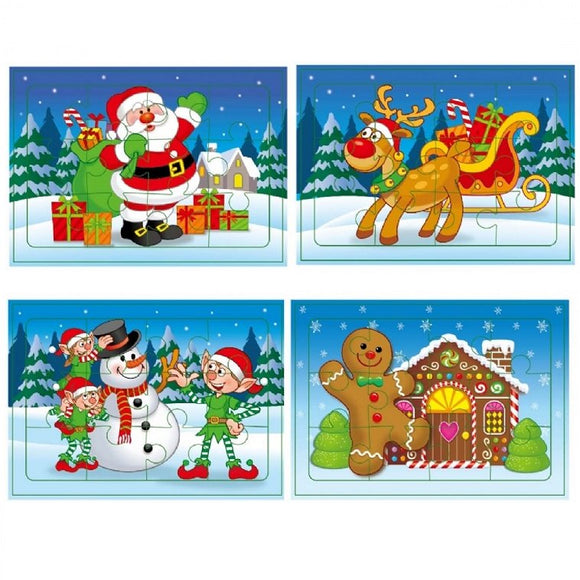 Set of 4 Christmas Jigsaw Puzzles, perfect for classroom gifts and treats as well as stocking fillers