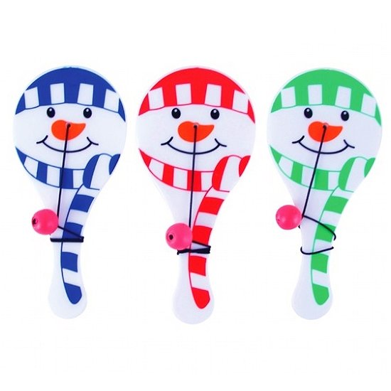 Set of 3 Snowman Christmas Paddle Bag Toys Games Stocking Filler Gift Treat Party Favor