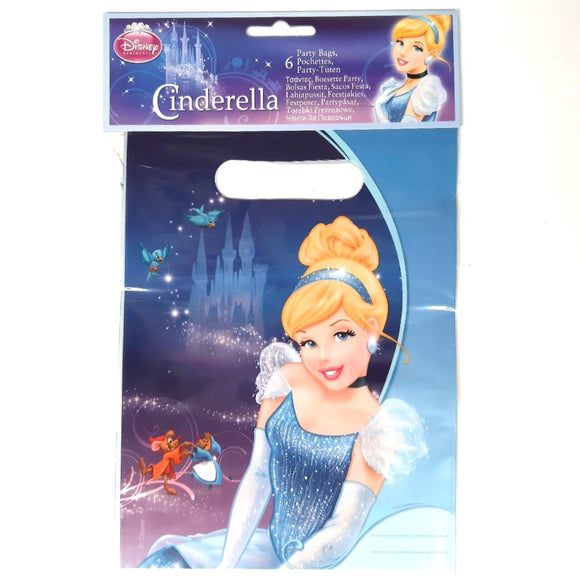 A 6 Pack of Cinderella Disney Princess Party Favour Loot Bags