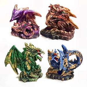 These Dark Legends Crystal Cave Dragons are sold as a set of and will make a fantastic eye catching centrepeice whether a purchase to treat yourself or a gift that will last for years to come.  Each resin figure measures approx. 5.5cm wide 5.5 cm tall and 3 cm deep on a 3.5 cm base.