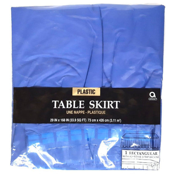 Blue Plastic Table Skirt - Party Tableware and Blue Party Supplies