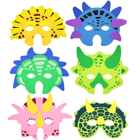 Set of 6 Dinosaur EVA Foam masks