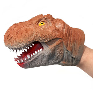 T rex and Triceratops Adult and Child Rubber Hand Puppets