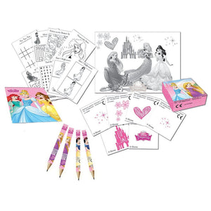 A Fantastic Disney Princess Activity Pack for 4 People  Pack includes  4 x Pencils and Activity Booklets 4 x Sticker Sheets 4 x Boxes x 12 Stickers