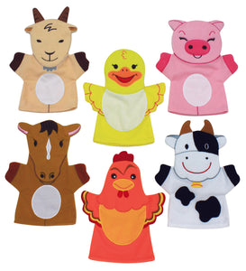 Set of 6 Farm Animal Hand Puppets - Children's School Story Telling Puppets