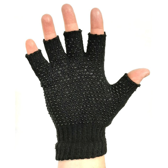 Black Fingerless Winter Gripper Gloves
