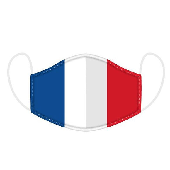 This Age 12+ to Adult Size 2 layer face mask covering is in a French Flag design.  Large Size (Rough Size Age 12+) 23 cm x 13 cm