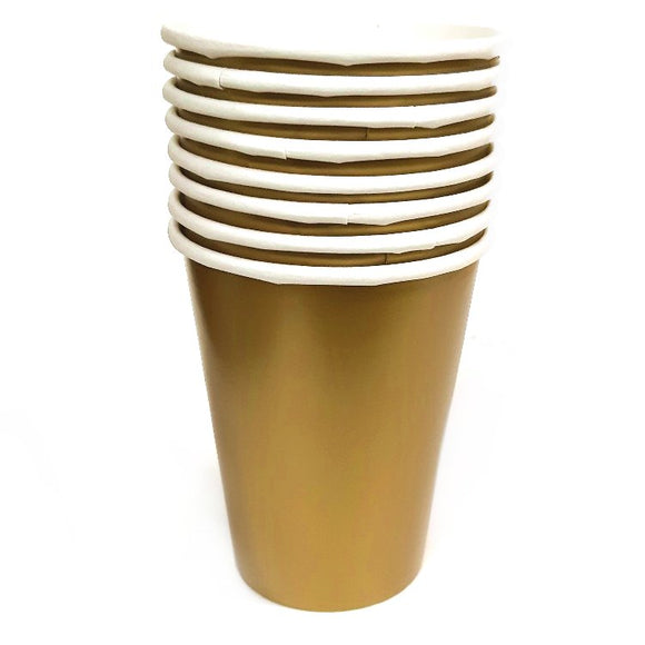 Pack of 8 Gold Paper Cups - Party Tableware and Gold Party Supplies