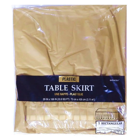 Gold Plastic Table Skirt - Party Tableware and Gold Party Supplies