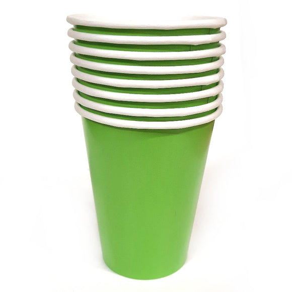 Pack of 8 Green Paper Cups - Party Tableware and Green Party Supplies