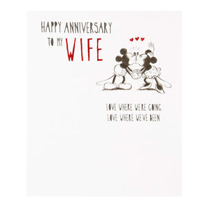 Disney Mickey and Minnie Happy Anniversary To My Wife Hallmark Greetings Card