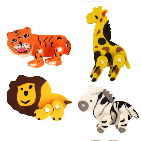 Jungle Anial Eraser with Moving Legs Fundraising Pack Pocket Money Toy Party bag Filler