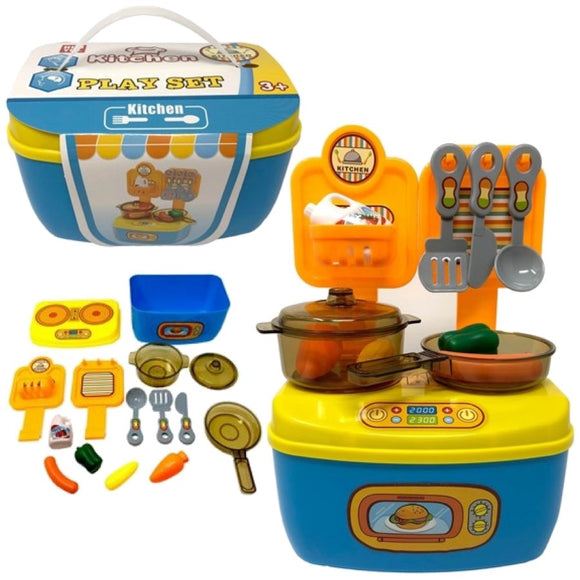 Pretend Play Kitchen Playset with Toy Food, Utensils, Pans and Oven
