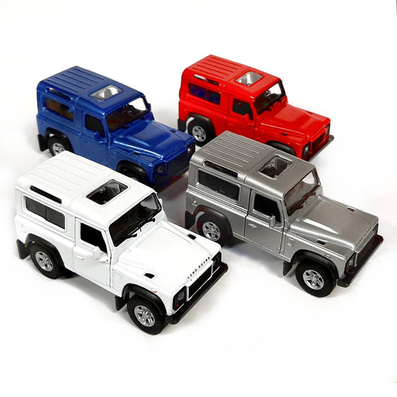 Diecast Land Rover Defender model in red, blue, white and silver toy car