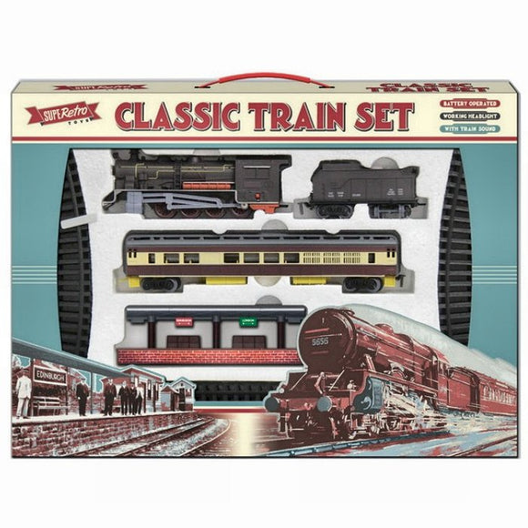 Retro Classic Train Set with Train Sounds, Station and 2 Trucks Gift Birthday