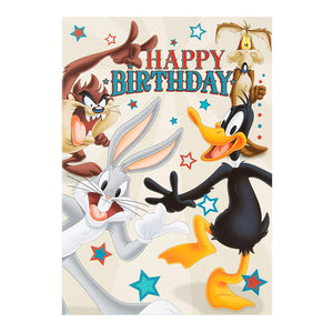 Looney Tunes Birthday Card with Daffy Duck, Taz, Bugs Bunny and Coyote