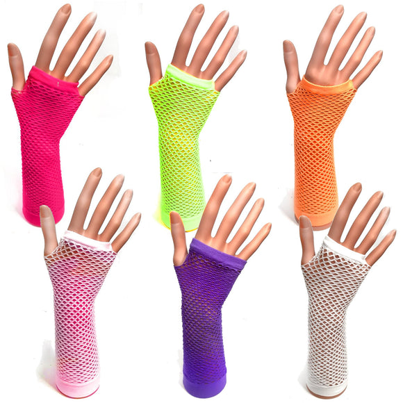 Long Fishnet Fingerless Gloves for 80's Party Fancy Dress