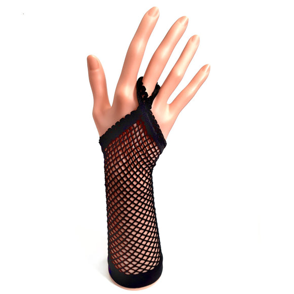 Black Fishnet Gloves With Finger Loop for Parties, Fancy Dress and Hen Nights