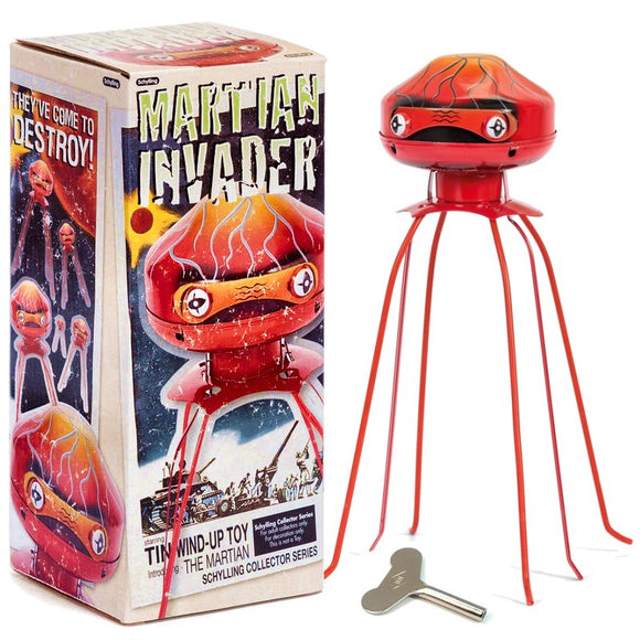 Clockwork Tin Martian Invader collectible walking toy