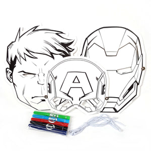 Set of 3 Marvel Avengers Colour Your Own Children's Face Masks with Pens