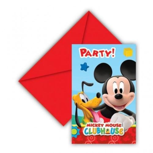 Pack of 6 Mickey Mouse Party Time Invites with Envelopes