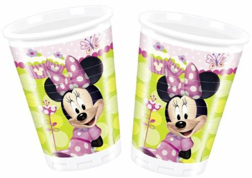 A pack of 8 x 200 ml disposable cups with a Disney Minnie Mouse Theme.