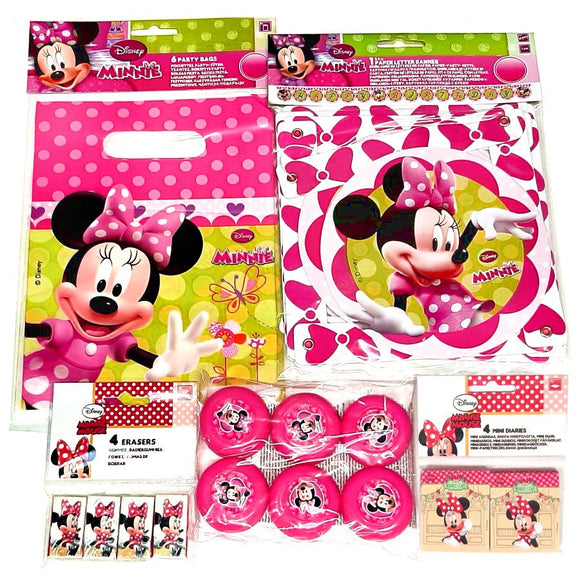Minnie Mouse Party Pack for 12 People Decorations, Party Bags and Favours