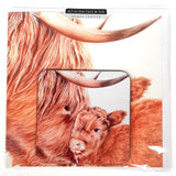 Highland Cow Greetings Card with Drinks Coaster Nadine Sutterby Artwork