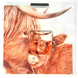 Mother and Baby Highland Cow Greetings Card with Gift