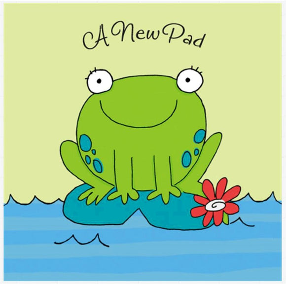 New Pad Card - Hallmark Frog on Lily Pad New Home Card & Envelope