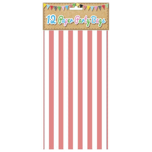 12 Pink candy Stripe Paper Party Bags