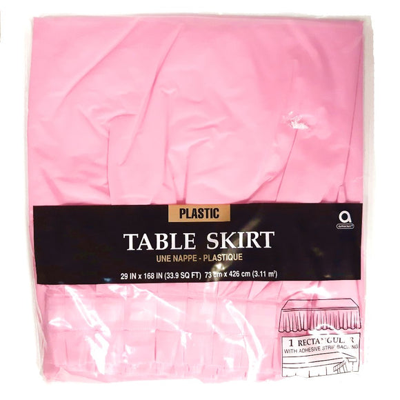 Pink Plastic Table Skirt - Party Tableware and Pink Party Supplies