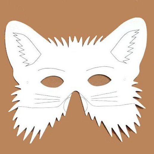 Plain Card Children's Fox Face Mask to Colour In for Party Bags