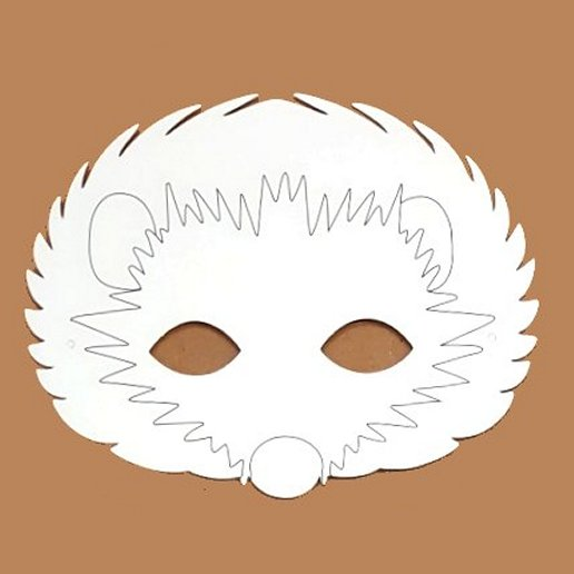 Plain Card Children's Hedgehog Face Mask to Colour In for Party Bags