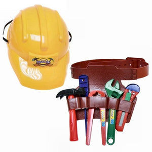 Plastic Construction Helmet with Tool Belt and Tools Pretend Play Toy