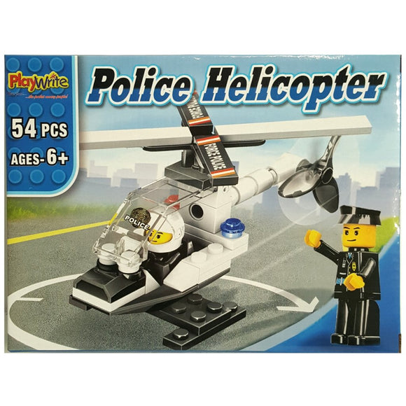 Police Helicopter 54pcs Building Brick set compatible with major brands