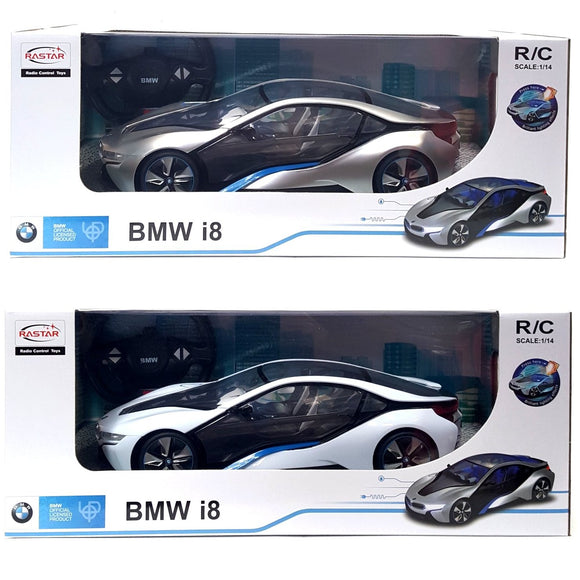 Radio Control BMW i8 silver and white 1/14 scale toy