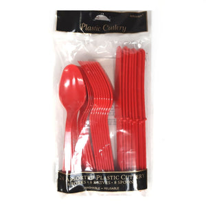 Red Plastic Cutlery - Party Tableware and Red Party Supplies
