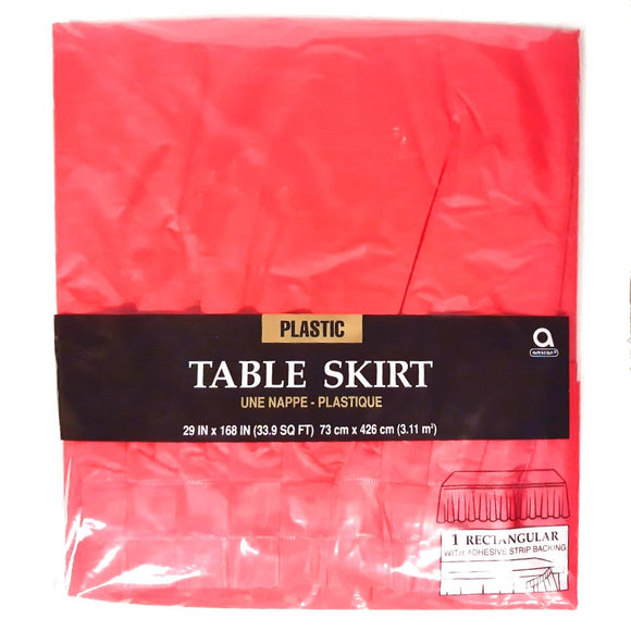 Red Plastic Table Skirt - Party Tableware and Red Party Supplies